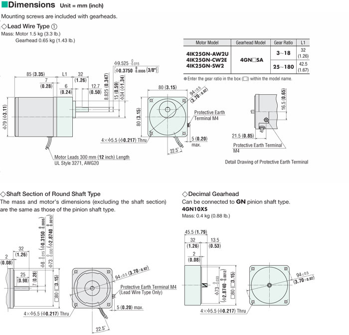 4ik25gn  4gn120sa 25 W  1  30 Hp  Induction Motor  120