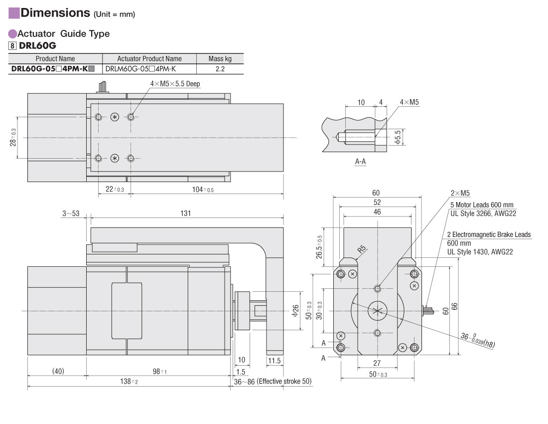 Item Drlm60g 05a4pm K Compact Linear Actuator On Oriental Motor Usa Schematic Dimensions