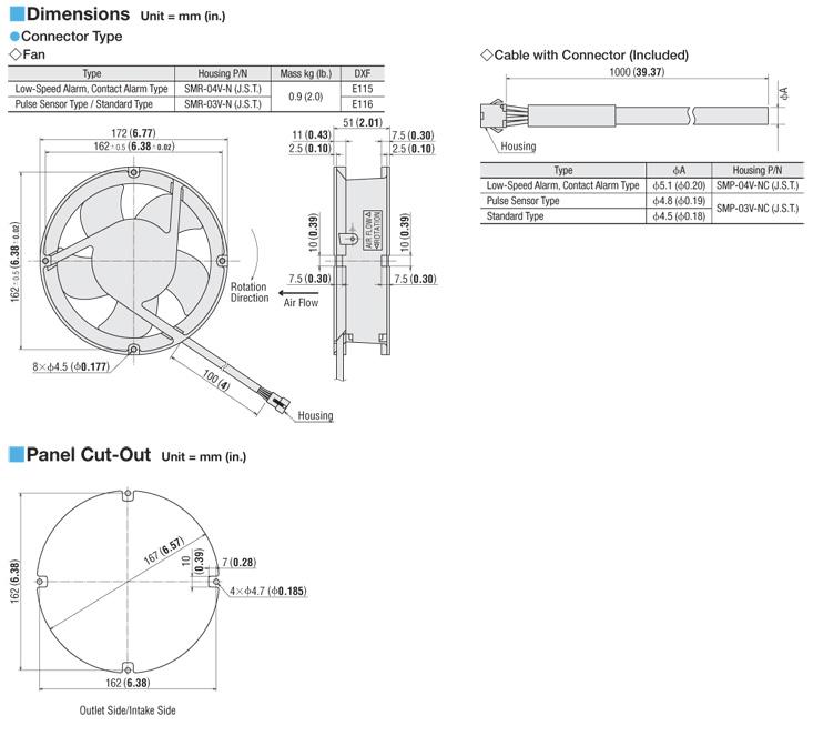 172 mm X 6.77 in. X 172 mm H W 6.77 in. W ORIX 24 VDC Axial Cooling Fan H